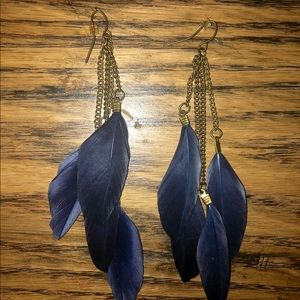Navy Blue dangle feather earring with bronze metal